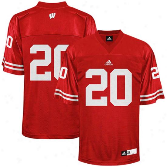 Adidas Wisconsin Badgers #20 Replica Football Jersey - Cardinal