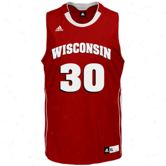 Adidas Wisconsin Badgers #30 Replica Basketball Jersey-cardinal