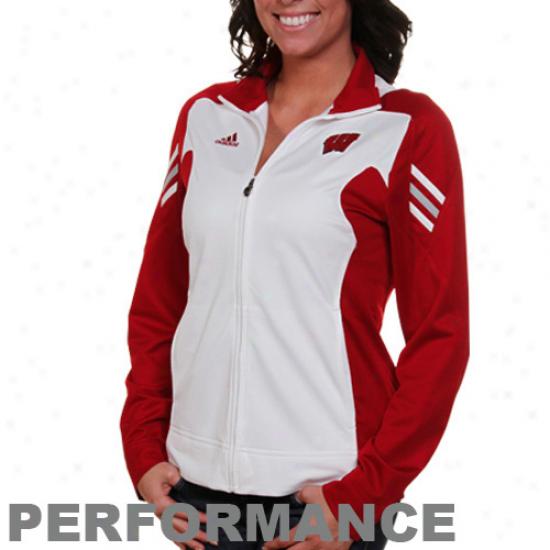 Adidas Wisconsin Badgers Ladies White-cardinal Scorch Full Zip Performance Jacket