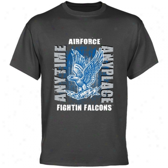 Air Force Falcons Charcoal Anytime Anyplace T-shirt