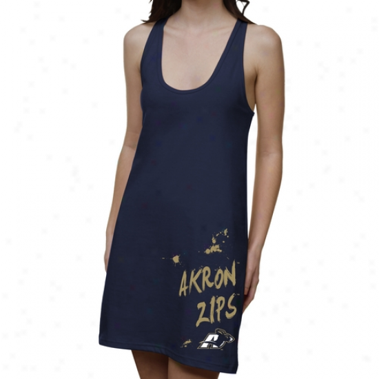 Akron Zips Ladies Paint Strokes Junior's Racerback Dress - Navy Blue