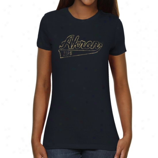 Akron Zips Ladies Swept Away Slim Fit T-shirt - Navy Blue