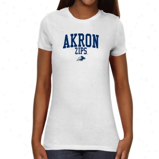 Akron Zips Ladies Team Roguish Slim Fit T-shirt - White