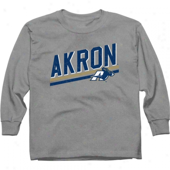 Akron Zips Youth Rising Bar Long Sleeve T-shirt - Ash