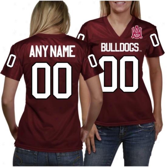 Alabama A&m Bulldogs Women's Personalized Fashion Football Jersey - Maroon
