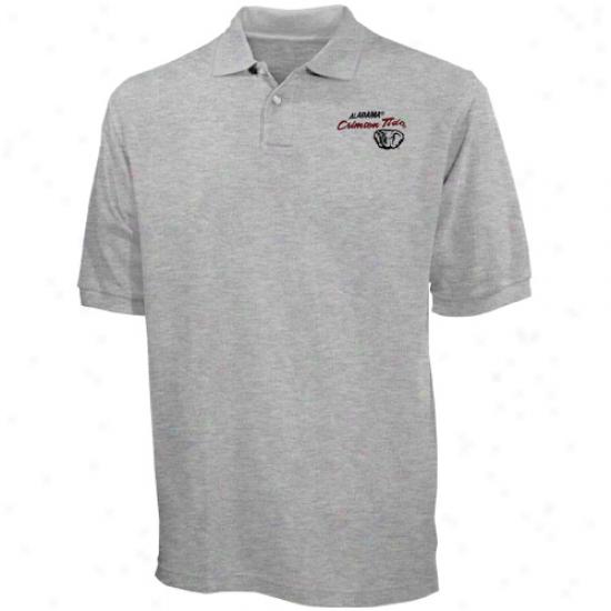 Alabama Crimson Tide Ash Blazer Logo Pique Polo