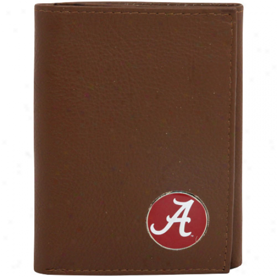 Alabama Crimson Tide Brown Tri-fold Leather Bag