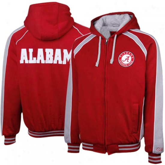 Alabama Crimson Tide Crimson-graay Colorblock Full Zip Fleece Hoodie Jacket