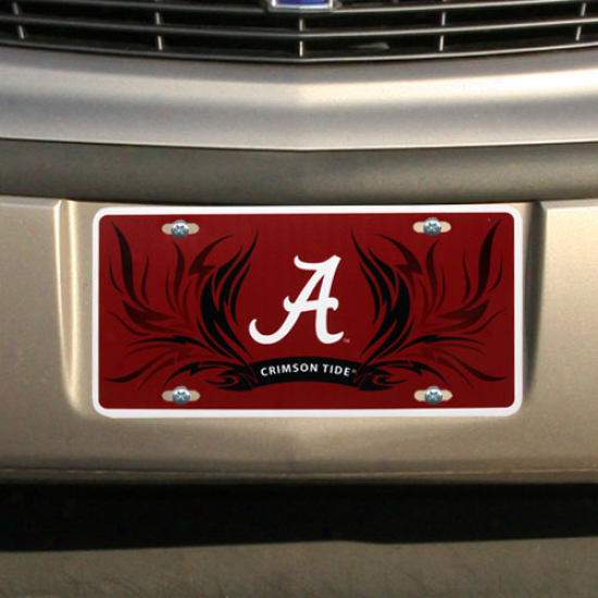 Alabama Crimson Tide Flame Styrene License Plate
