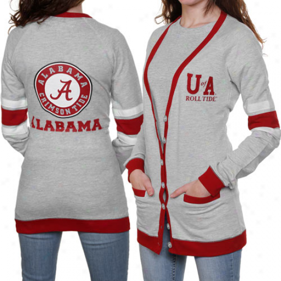 Alabama Crimson Tide Ladies Ash Study Hall Long Sleeve Cardigan