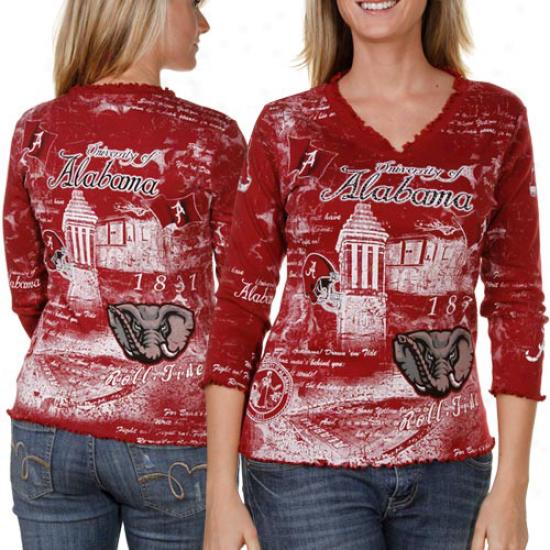 Alabama Crimspn Tied Ladies Crimson Ruffled Tutor Spirit 3/4 Sleeve Premium V-neck T-shirt