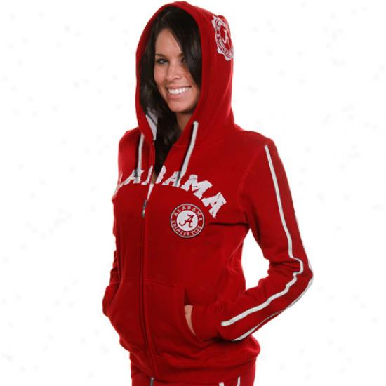 Alabama Crimson Current Ladies Crimson School Daze Full Zip Hoodie Sweatshirt