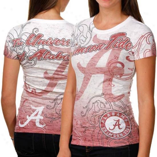 Alabama Crimson Course Ladies Shifty Masxot Burnout Premium T-shirt - White-crimson