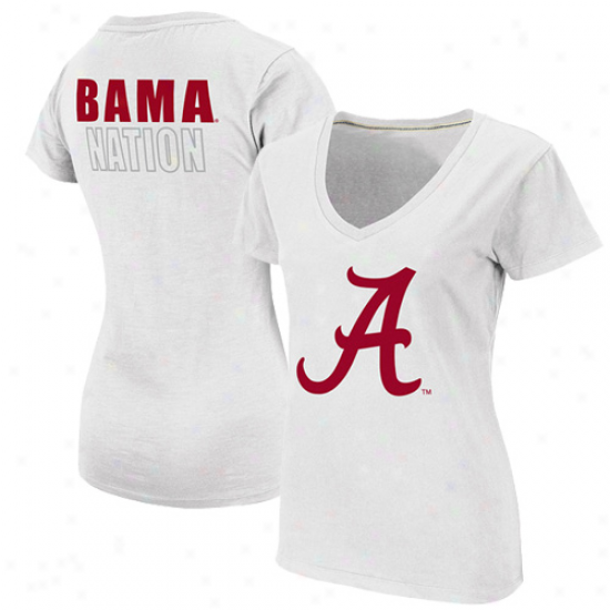 Alabama Crimson Tide Lafies Tone Bama Nation T-shirt - White