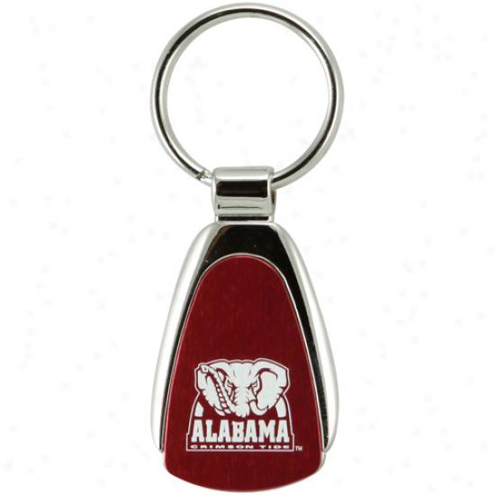 Alabama Crimson Tide Silvertone Teardrop Keychain