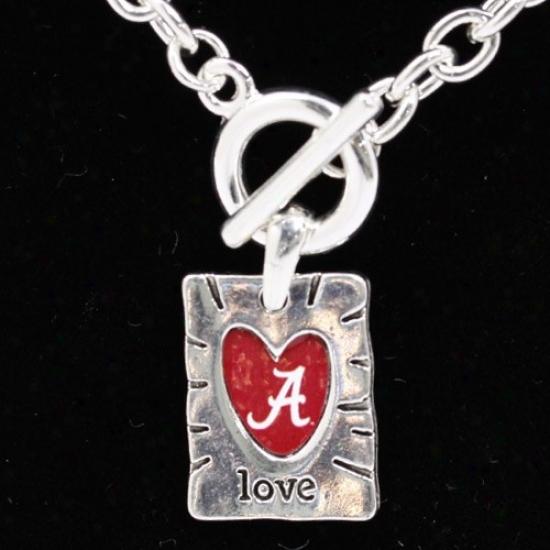 Alabama Crimso nTide Team Color Love Necklace