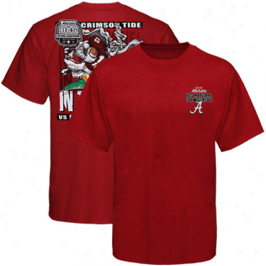 Alabama Crimson Tide Youth 201 Bcs National Championship Game Bpund Goal Line T-shirt - Crimson