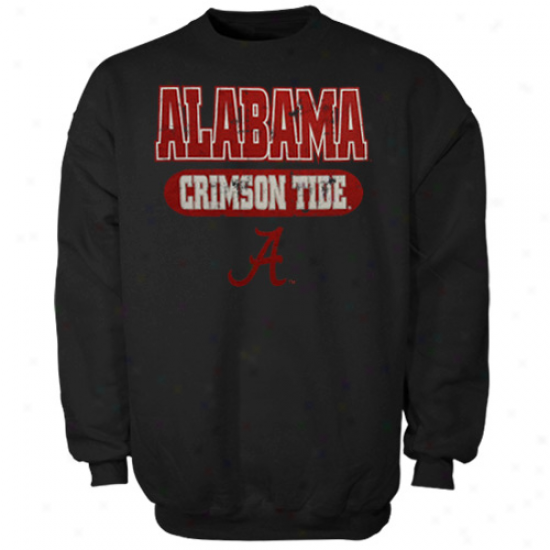 Alabama Crimson Tide Youth Black Crew Fleece Sweatshirt