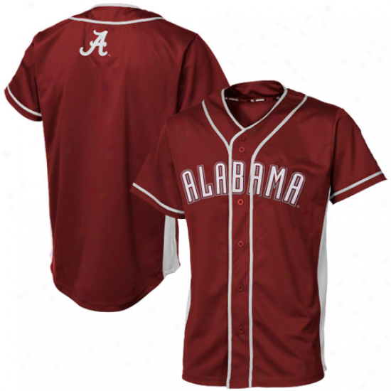 Alabama Crimson Tide Youth Fielder Baseball Full Button Jersey - Crimson