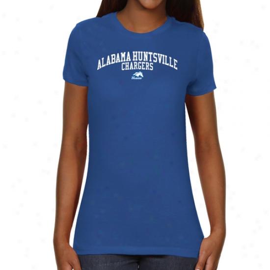 Alabama Huntsville (uah) Chargers Ladies Team Arch Slim Fit T-shirt - Royal Blue