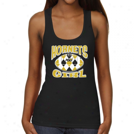 Alabama State Hornets Ladiws Argyle Girl Junior's Ribbed Tank Top - Black