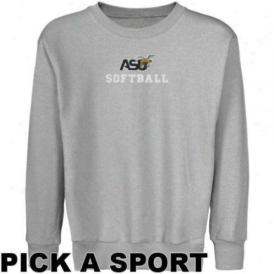 Alabama State Hornets Youth Ash Custom Sport Logo Appplique Crew Neck Fleece Sweatshirt