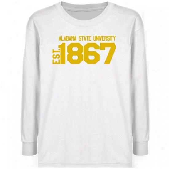 Alabama State Hornets Youfh White Est. Date T-shirt