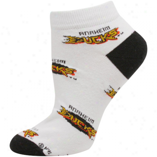 Anaheim Dudks Ladies White Allover Logo Ankle Socks
