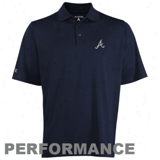 Antigua Atlanta Braves Pique Performance Polo - Ships Blue