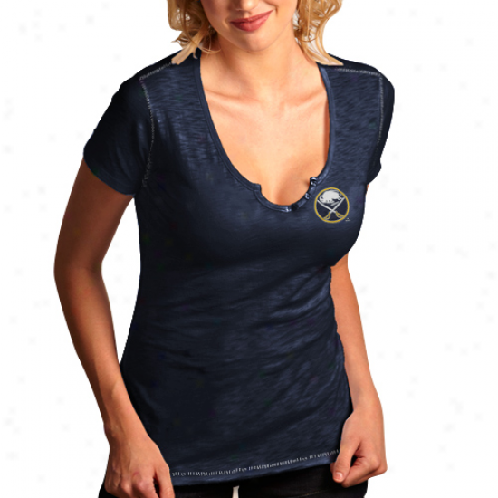 Antigua Buffalo Sabres Ladies Spry Slub Premium T-shirt - Navy Blue