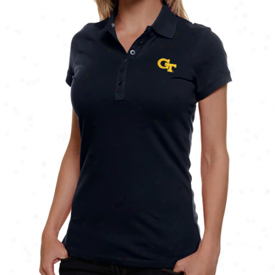 Antigua Georgia Tech Yellow Jackets Ladies Navy Blue Spark Premium Polo