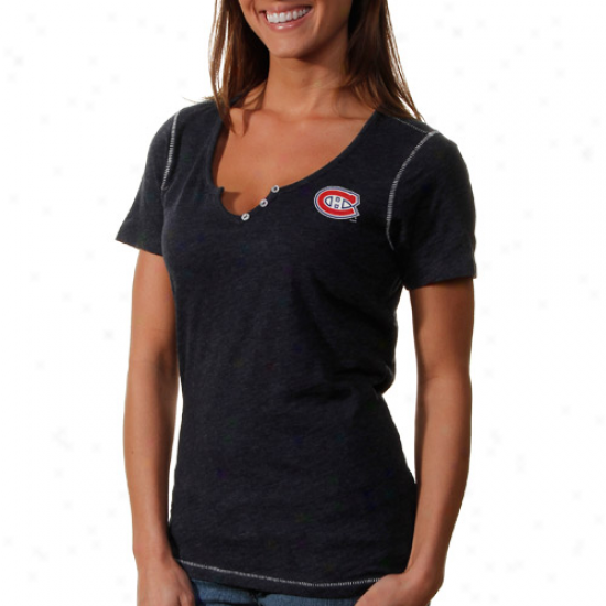Antigua Montreal Canadiens Ladies Spry Slub Premium T-shirt - Navy Blue