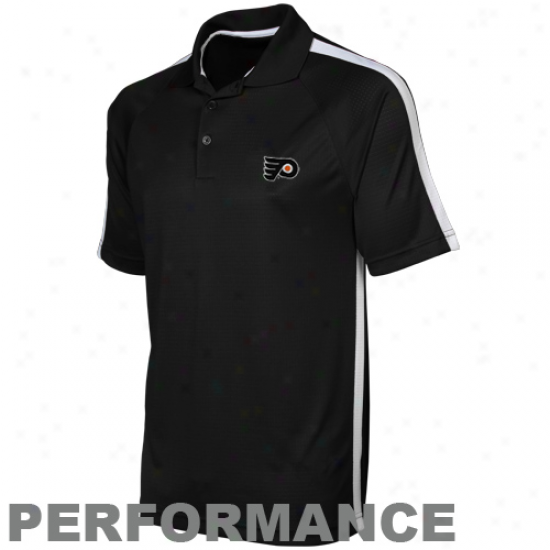 Antigua Philadelphia Flyers Black Revel Performance Polo