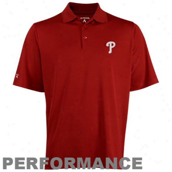 Antigua Philadelphia Phillies Red Excees Polo