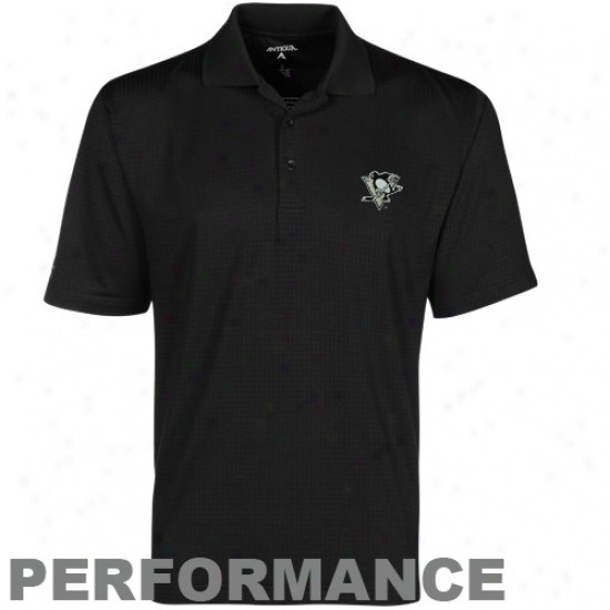 Antigua Pittsburgh Penguins Black Phoenix Performance Polo