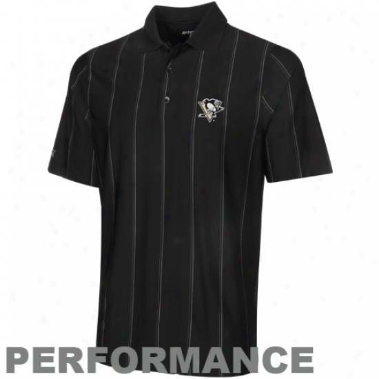 Antigua Pittsburgh Penguins Succession Desert Dry Stripe Performance Polo - Black