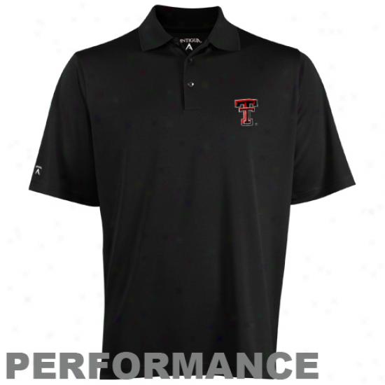 Antigua Texas Tech Red Raiders Black Exceed Performance Polo