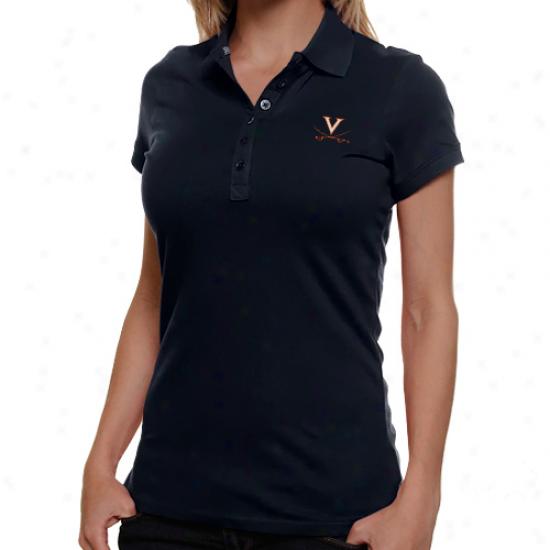 Antigua Virginia Cavaliers Ladies Navy Blue Spark Premium Polo