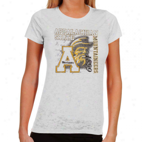 Appalachian State Mountaineers Ladies Fivhting Pride Burnout T-shirt - White