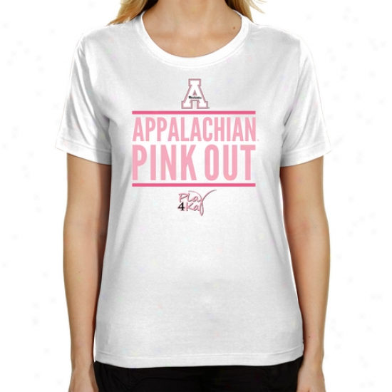 Appalachian State Mountaineers Play 4kay Pink Out Ladies Classic Fit T-shirt - White