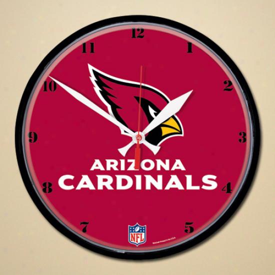 Arizona Cardinals Logo & Name R0und Walll Clock