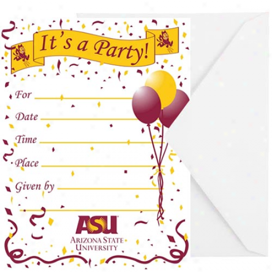Arizona Condition Sun Devils 8-pack Party Invitatioms & Envelopes