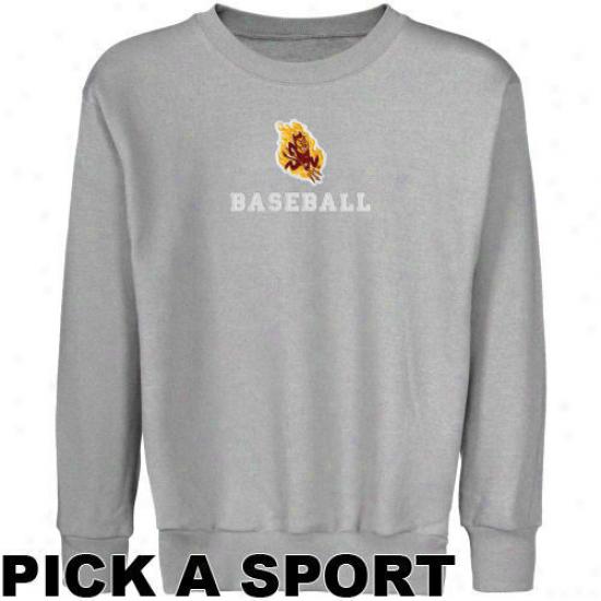 Arizona State Sun Devils Youth Ash Habit  Sport Logo Applique Crew Neck Fleece Sweatshirt