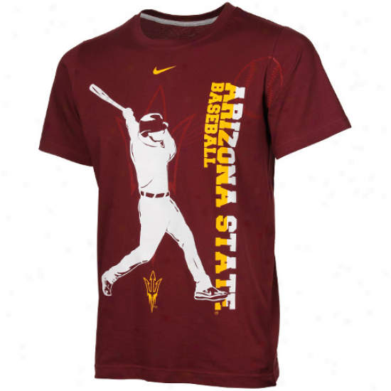 Arizona State Sun Devils Youth Baseball Vivid T-shrt - Maroon