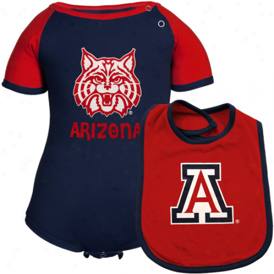 Arizona Wildcats Infabt First Down Creeper & Bib Set - Navy Blue-cardinal