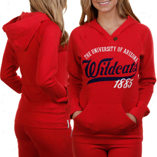 Arizona Wildcats Ladies Cardinal Far Out Pullover Hoodie Sweatshirt