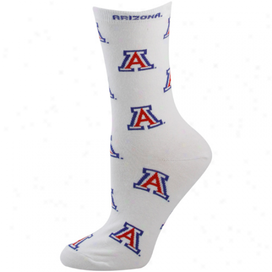 Arizona Wildcats Ladies White All-over Logo Mid-calf Socks