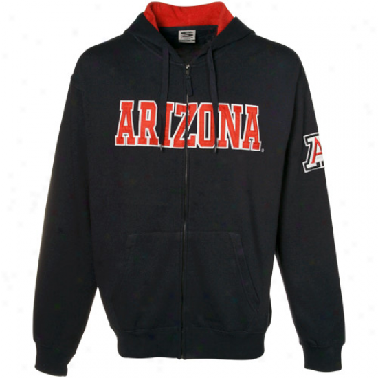 Arizona Wildcats Navy Blue Classic Twill Full Zip Hoody Sweatshirt- -