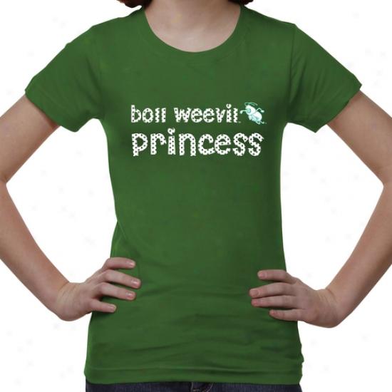 Arkansas At Monticello Boll Weevils Youth Princess T-shirt - Green