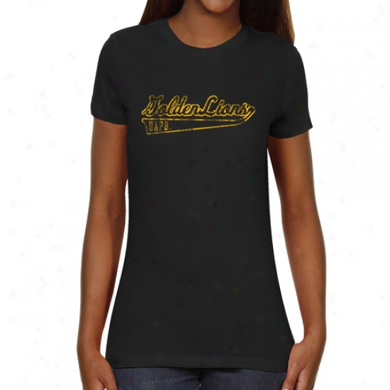 Arkansas Pine Bluff Golden Lionw Ladies Swept Away Slim Fit T-shirt - Black